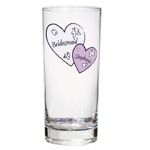 Personalised Butterfly Hearts Hi-Ball Glass